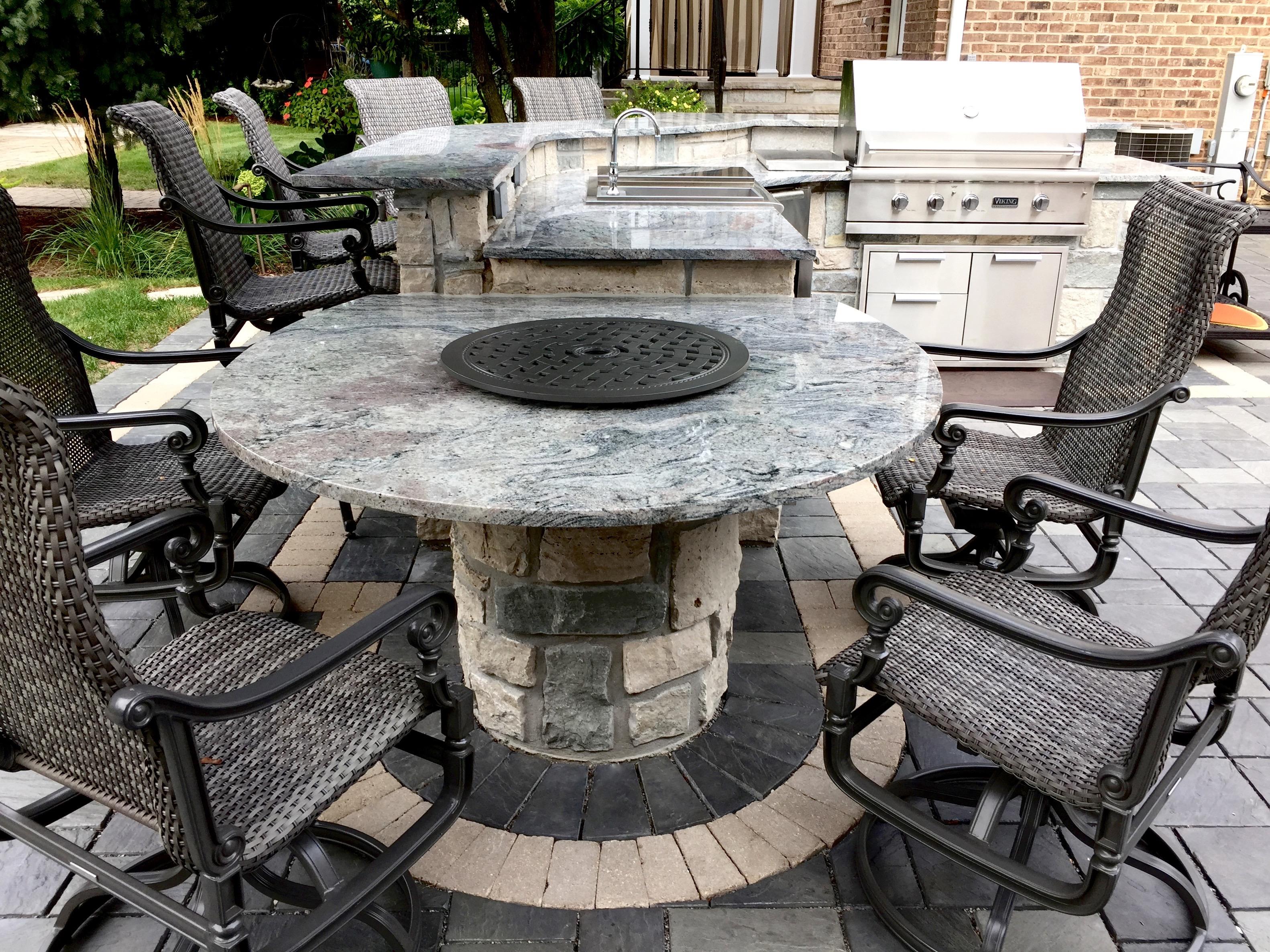Naperville Masonry Natural Stone Outdoor Kitchen  Masonry Natural Stone Bar With Granite Countertop