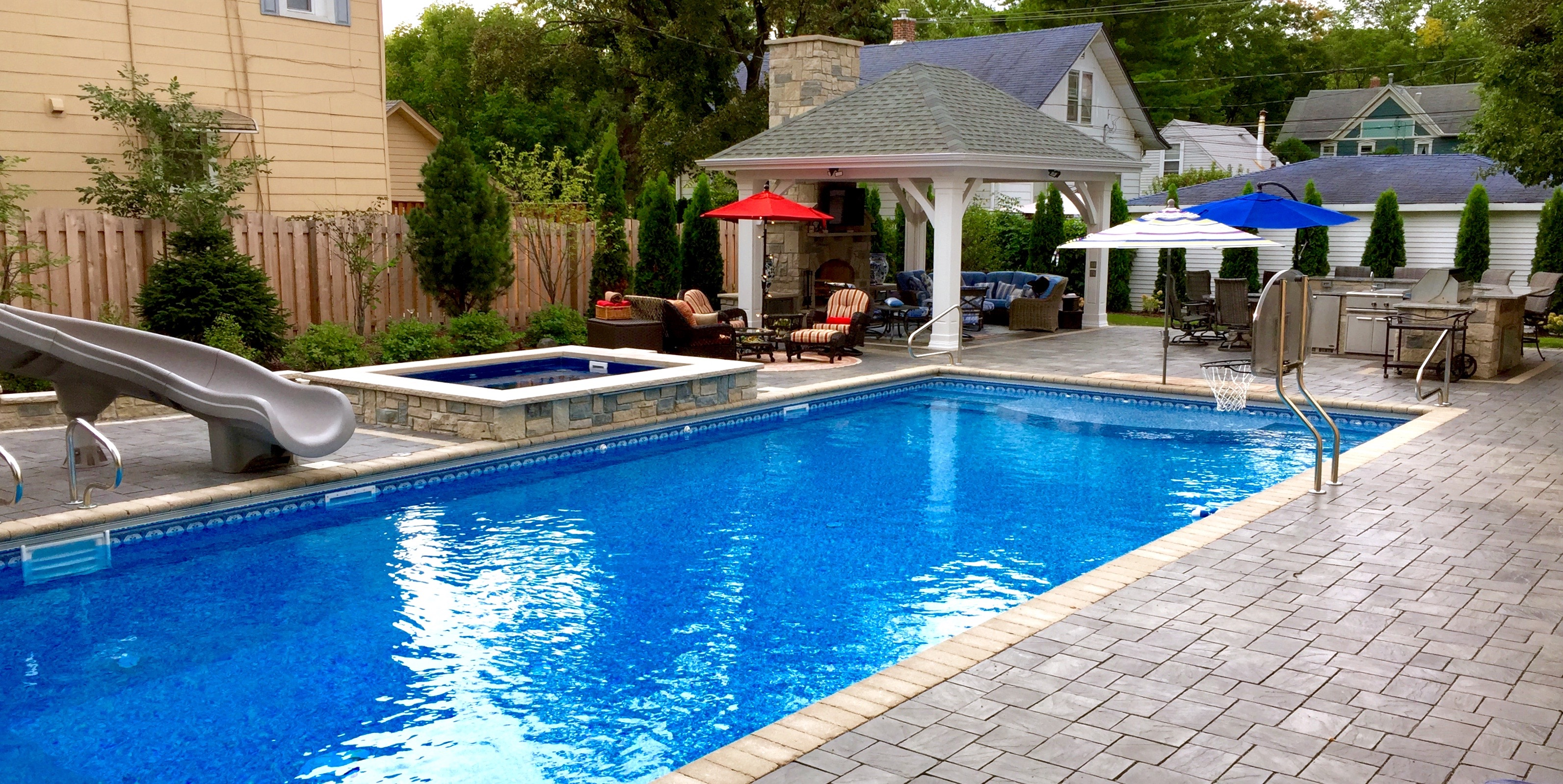 Patios cms landscapes for Pool with fireplace