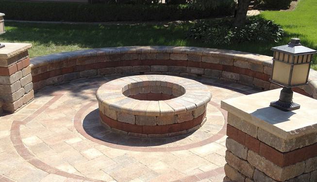 Fire pit in Downers Grove, IL built by CMS Landscapes